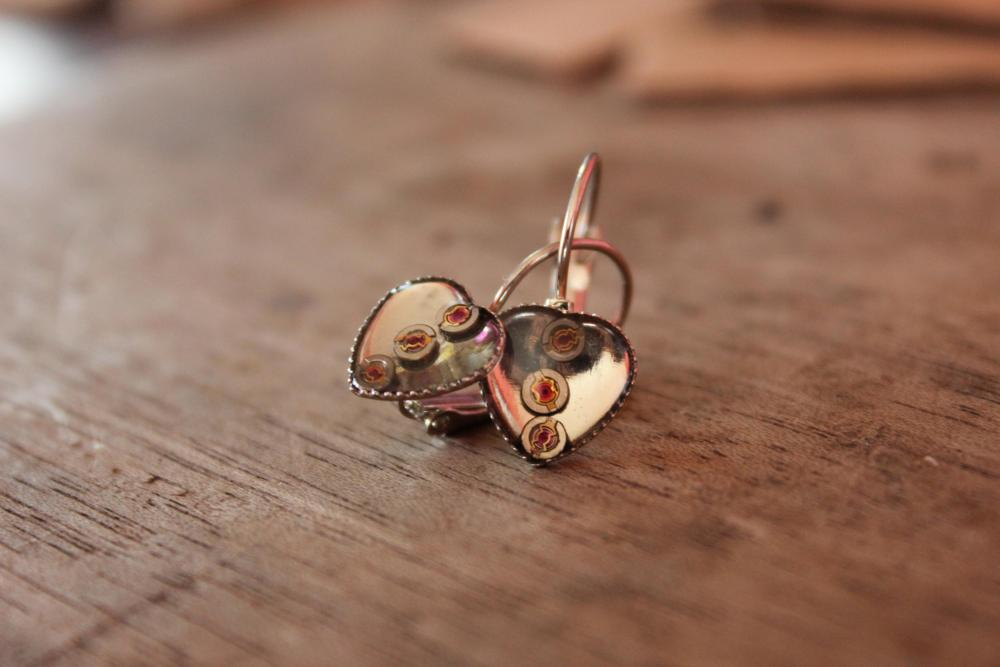 Hanging hear-shaped earings from vintage watch parts