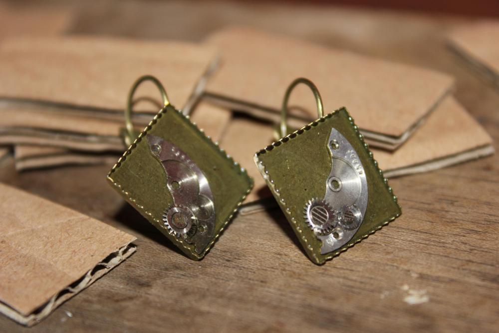 Hanging earrings from vintage watch parts