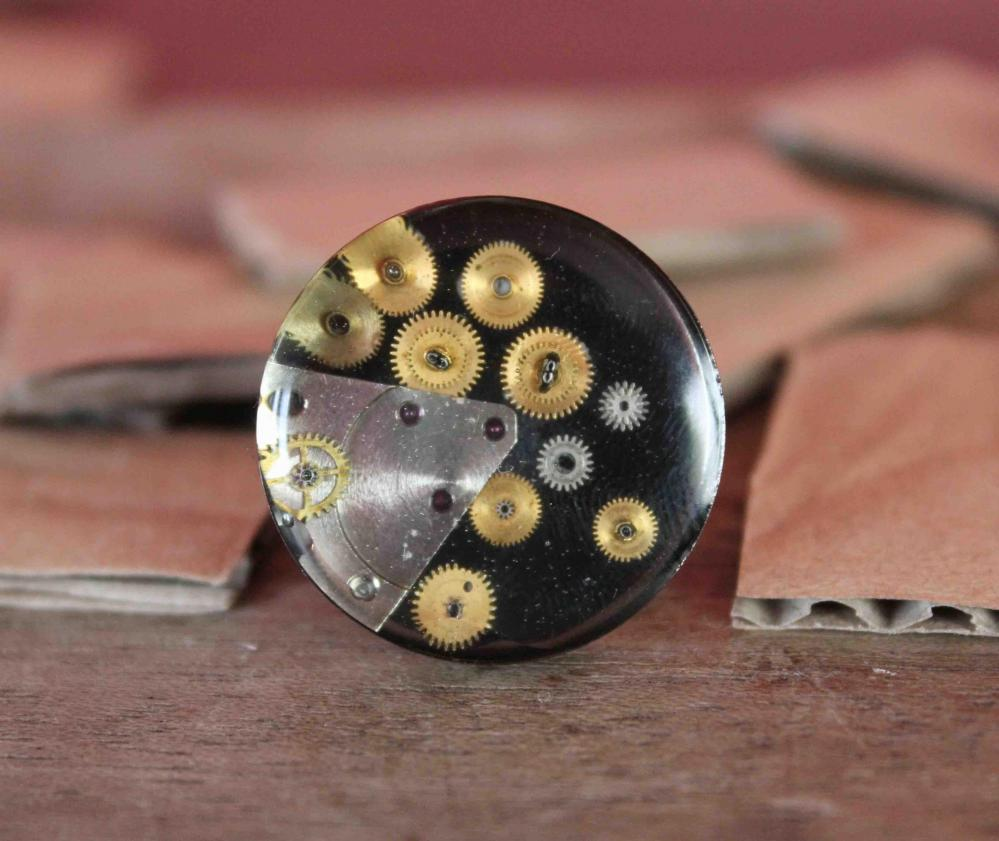 Gun metal color ring made from vintage watch parts