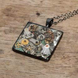 Pretty steampunk square pendant from vintage watch parts